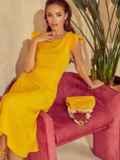 """Желтое платье с вырезом по спинке и рукавом """"крылышко"""" 48198, фото 4"""