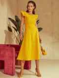 """Желтое платье с вырезом по спинке и рукавом """"крылышко"""" 48198, фото 5"""