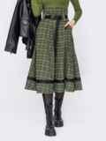 Клетчатая юбка-клеш с высокой талией хаки 52893, фото 1