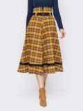 Клетчатая юбка-клеш с высокой талией желтая 52892, фото 1