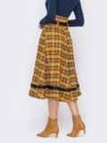 Клетчатая юбка-клеш с высокой талией желтая 52892, фото 2