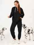 Черный костюм с брюками и худи с молнией 55152, фото 1