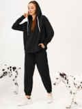 Черный костюм с брюками и худи с молнией 55152, фото 2