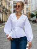 Белая блузка прямого кроя с объемными рукавами  49765, фото 1