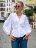 Белая блузка прямого кроя с объемными рукавами  49765, фото 2