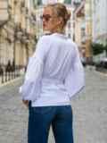 Белая блузка прямого кроя с объемными рукавами  49765, фото 3
