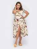 Бежевое платье на запах с абстрактным принтом 53933, фото 3