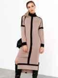 Бежевое платье с воротником-стойкой и контрастными вставками 52462, фото 4