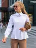 Приталенная блузка из софта с баской белая 49766, фото 2