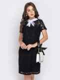 Приталенное платье из гипюра с контрастным воротником черное 40592, фото 2