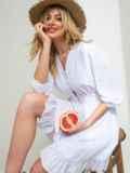 Приталенное платье на пуговицах белое 46834, фото 1