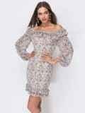Белое платье из креп-шифона с оборками 53472, фото 2