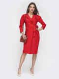 Красное платье на запах с лацканами 50887, фото 1