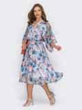Расклешенное платье из шифона с цветочным принтом голубое 54028, фото 3