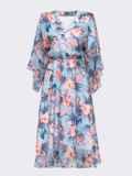 Расклешенное платье из шифона с цветочным принтом голубое 54028, фото 5