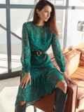 Шифоновое платье-миди с анималистическим принтом зеленое 54968, фото 1