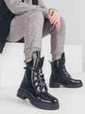 Зимние ботинки из эко-кожи чёрного цвета 51443, фото 1