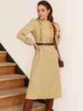 Бежевое платье с оборками на полочке и юбкой-трапецией 53076, фото 2
