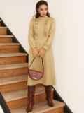 Бежевое платье с оборками на полочке и юбкой-трапецией 53076, фото 4