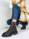 Зимние ботинки из искусственной замши коричневые 51727, фото 1