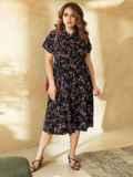 Принтованное платье из софта на пуговицах до пояса 53833, фото 2
