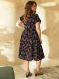 Принтованное платье из софта на пуговицах до пояса 53833, фото 3