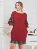 """Бордовое платье большого размера с вырезом """"лодочка"""" 43215, фото 1"""
