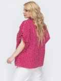 Красная рубашка в клетку свободного кроя батал 46224, фото 3