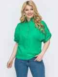 Зеленая рубашка свободного кроя батал 46226, фото 1