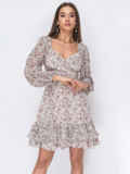 Белое платье из креп-шифона с цветочным принтом 53479, фото 3