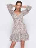 Белое платье из креп-шифона с цветочным принтом 53479, фото 4