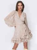 Бежевое платье из креп-шифона на запах с оборками 53477, фото 2