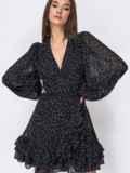 Черное платье из креп-шифона на запах с оборками 53478, фото 3