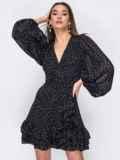 Черное платье из креп-шифона на запах с оборками 53478, фото 4