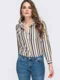 Блузка в полоску с супатной застежкой бежевая 45690, фото 1