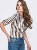 Блузка в полоску с супатной застежкой бежевая 45690, фото 3