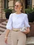 Прямая блузка из прошвы с объемными рукавами белая 49656, фото 2