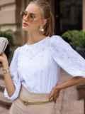 Прямая блузка из прошвы с объемными рукавами белая 49656, фото 3