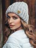 Светло-серая шапка «резинка» с отворотом 15467, фото 2