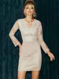 Бежевое платье-футляр из замши с кружевным верхом 52316, фото 2