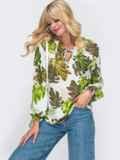 Блузка из штапеля с принтом и рукавом-реглан белая 50027, фото 1