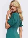 Приталенное платье бирюзового цвета с V-образным вырезом 50032, фото 2