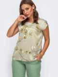 Шелковая блузка зелёного цвета с цветочным принтом 50036, фото 1