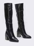 Зимние сапоги с заостренным носком черные 51729, фото 2