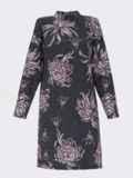 Черное платье с принтом со спущенным плечом и воротником-стойкой 52856, фото 3