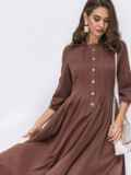 Коричневое платье приталенного кроя с расклешенной юбкой 42082, фото 4