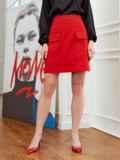Красная юбка-трапеция из мемори-коттона с карманами 53496, фото 2