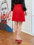 Красная юбка-трапеция из мемори-коттона с карманами 53496, фото 3