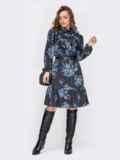 Платье-гольф с принтом и оборкой на полочке черное 52854, фото 1