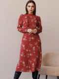 Терракотовое платье с рюшами по полочке и юбкой-трапецией 52860, фото 2